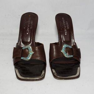 Donald J Pliner Couture Delle Brown Slide Heels